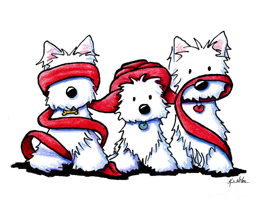 No Evil Westies Drawing By Kim Niles