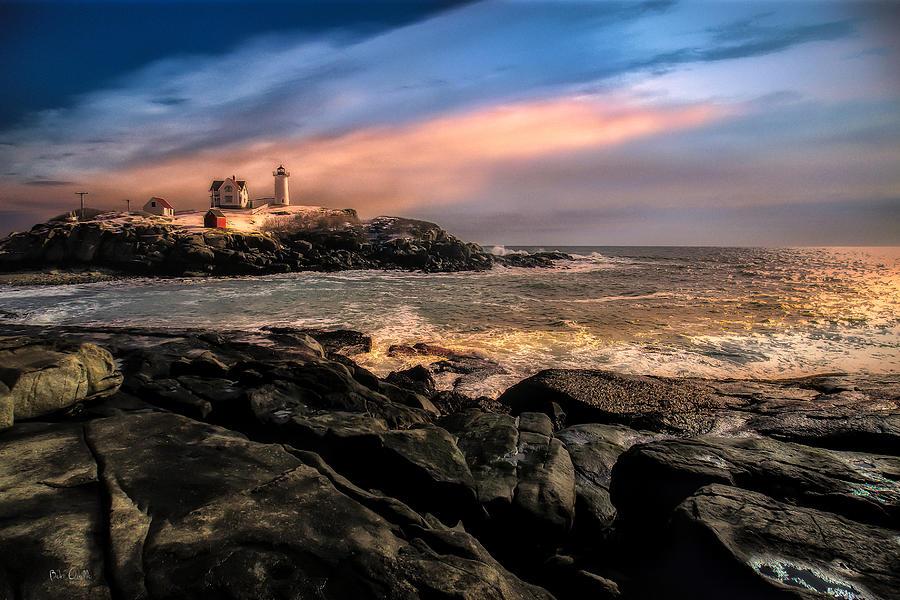 Nubble Lighthouse Winter Solstice Sunset Photograph By Bob