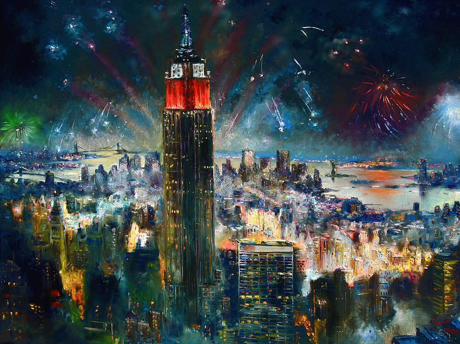 Nyc In Fourth Of July Independence Day Painting by Ylli Haruni Nyc Painting   Nyc In Fourth Of July Independence Day by Ylli Haruni