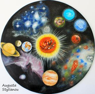 Planets and nebulae in a day Painting by Augusta Stylianou