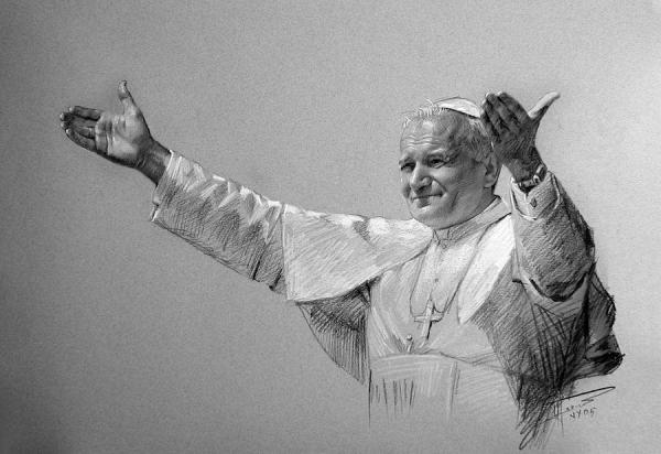 Pope John Paul II Bw Drawing by Ylli Haruni