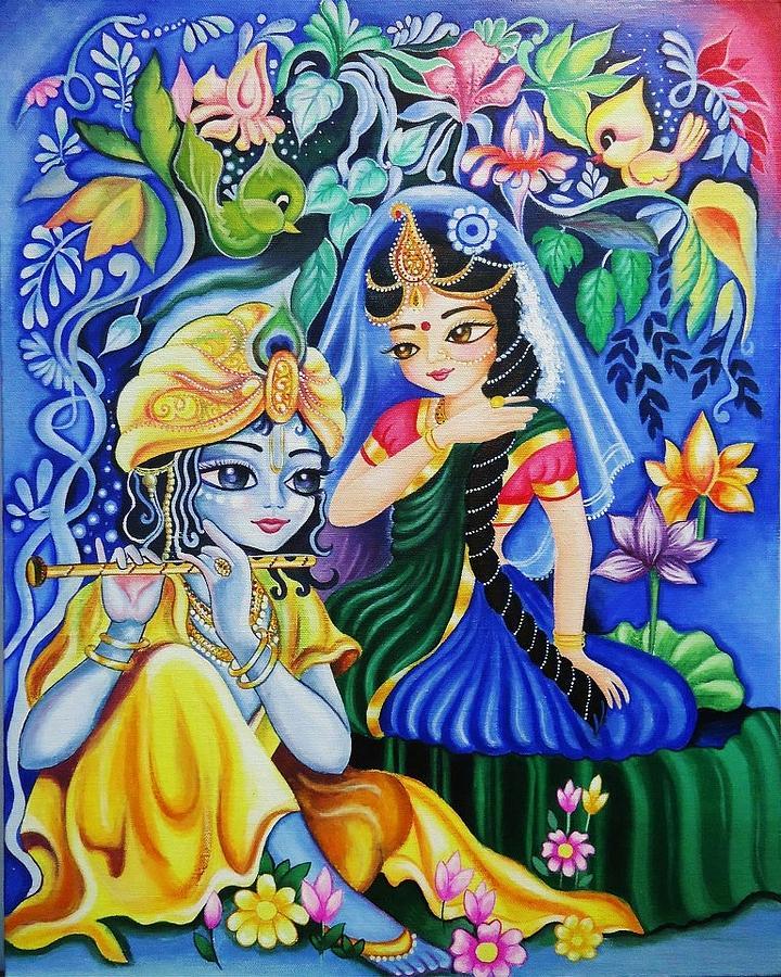 Radha Krishna Painting In Living Room