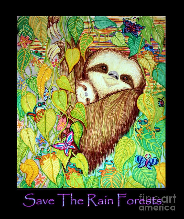 Perfect for scrapbooking, card making, branding, stationery and invitations, classroom worksheets, teachers, weddings, printable projects, party printables, sticker sheets, planners, digital stamping, coloring Save The Rain Forests Drawing By Nick Gustafson
