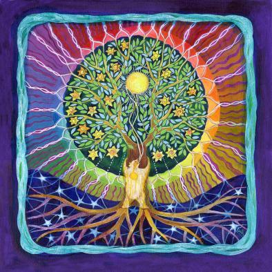 Sun Bear Star Tree Painting by Faith Nolton