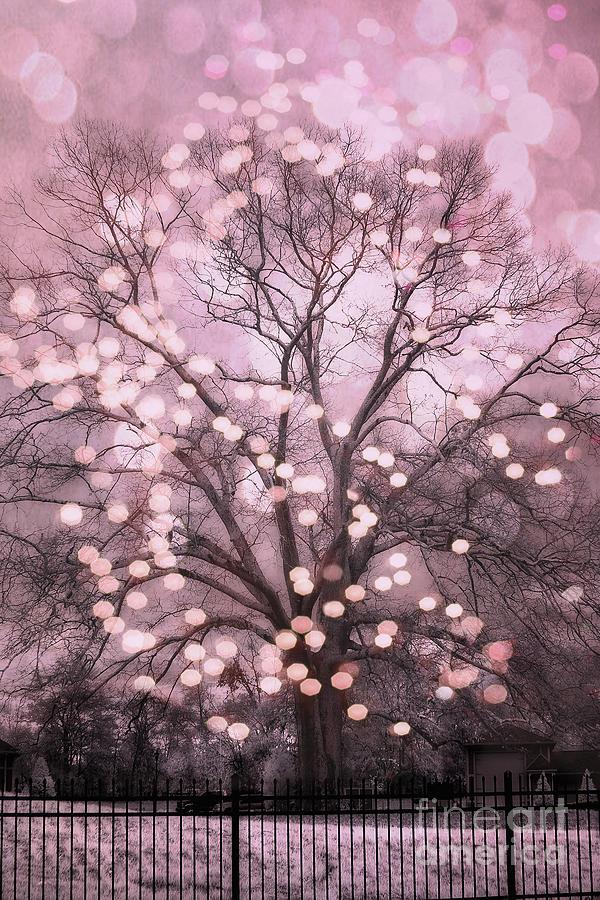 Surreal Fairytale Pink Nature Trees Fairy Lights Bokeh