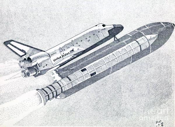 The Space Shuttle Drawing by Calvert Koerber