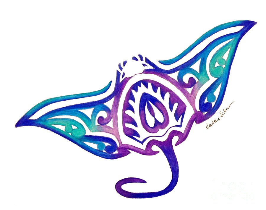 Tribal Manta Ray By Heather Schaefer