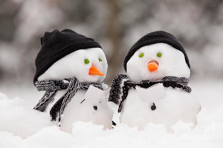Two Little Snowmen Photograph By Simon Bratt Photography LRPS