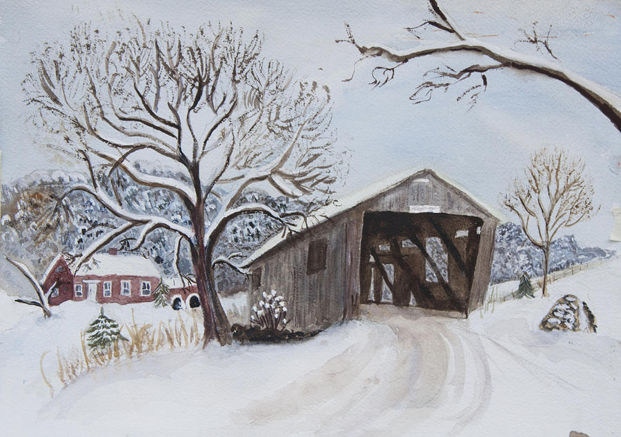 Vermont Covered Bridge In Winter Painting By Donna Walsh