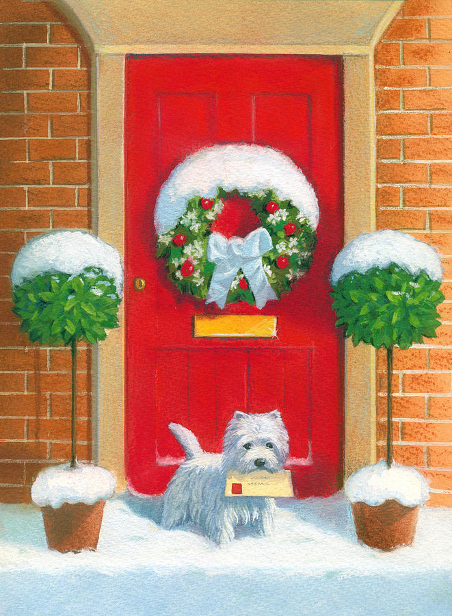 Westie Post Painting By David Price