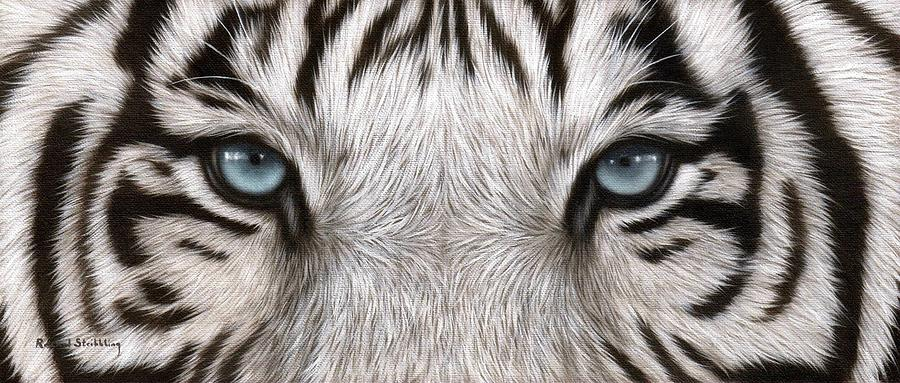 White Tiger Eyes Painting Painting By Rachel Stribbling