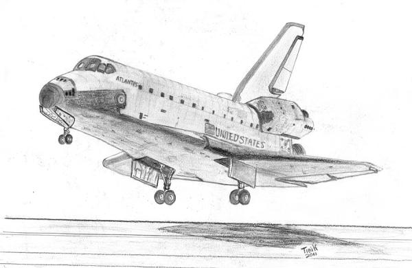 Space Shuttle Atlantis Drawing by Tibi K