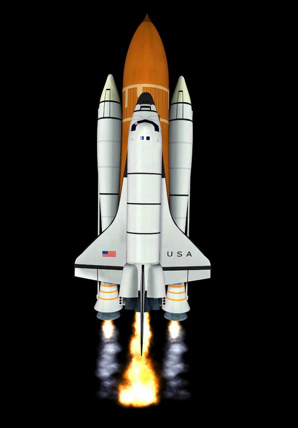 Space Shuttle Launch Computer Artwork Photograph by