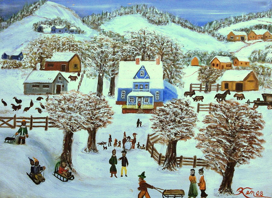 Winter Village Painting By Kenneth LePoidevin