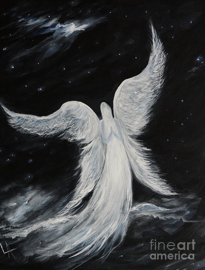 A Comforting Angels Prayer Painting By Leslie Allen
