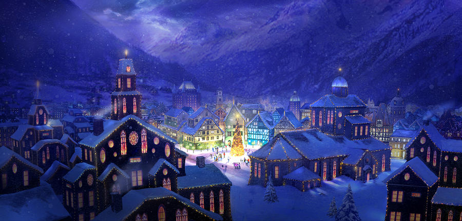 Christmas Town Painting  - Christmas Town Fine Art Print