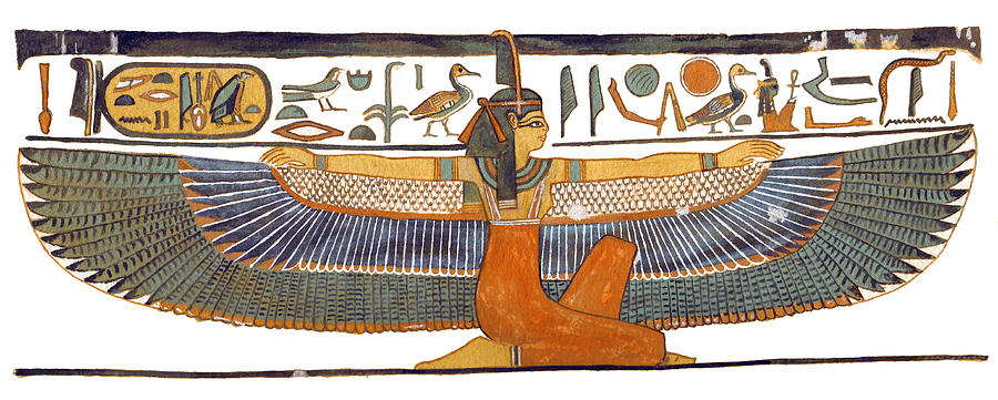 Egyptian Goddess Maat With Outstretched Wings Painting  - Egyptian Goddess Maat With Outstretched Wings Fine Art Print