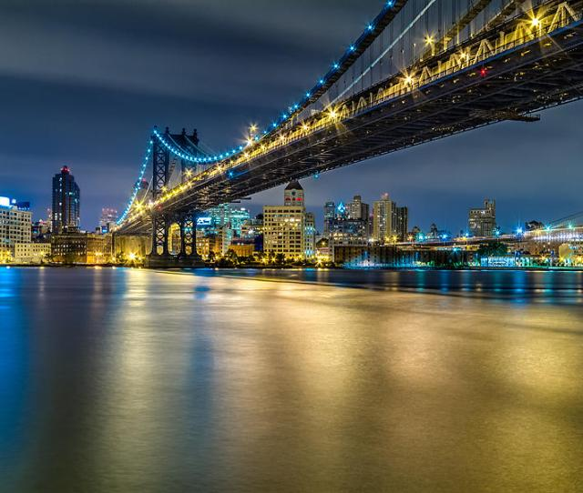 Downtown Photograph Manhattan Bridge And Downtown Brooklyn At Night By Val Black Russian Tourchin