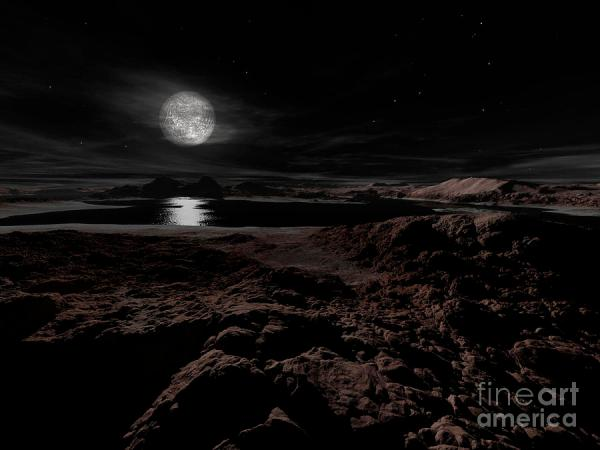 Plutos Moon Charon Hovers Digital Art by Ron Miller