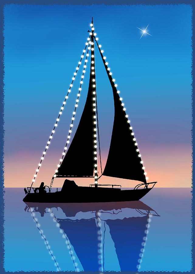 Sails At Sunset Silhouette With Xmas Lights Painting By Elaine Plesser