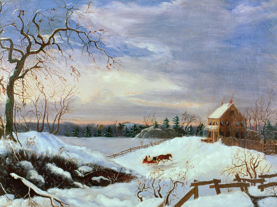 Snow Scene In New England By American School