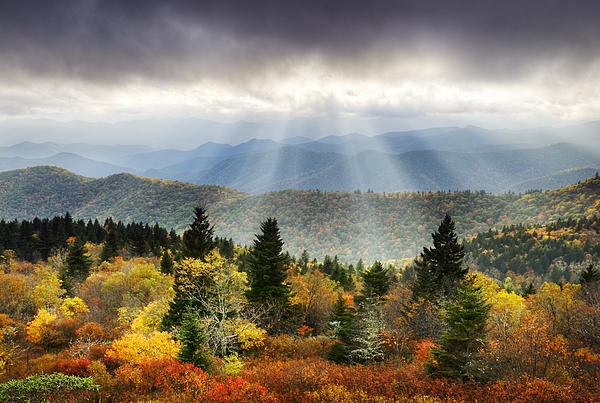 Blue Ridge Parkway Light Rays by Dave Allen