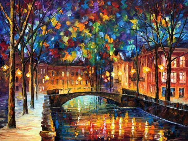 Painting of a bridge by Leonid Afremov