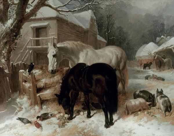 Farmyard Scene Print by John Frederick Herring Snr