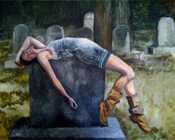 Painting of Julia on a grave