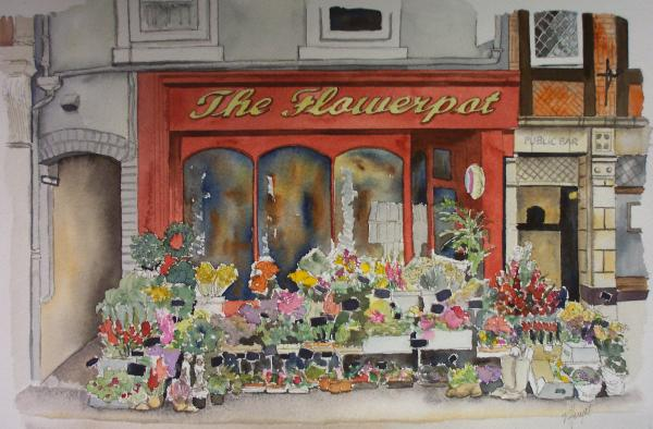 Painting of a flower shop