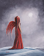 Red Dress Paintings - Winter Gothic Fairy by Shawna Erback by Shawna Erback