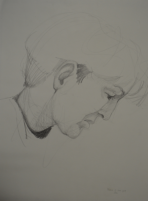 Portrait of a woman in pencil