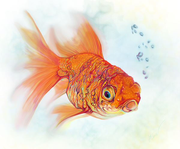 tattoo and watercolor goldfish shower curtain