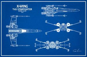 Diagram Illustration For The T65 Xwing Starfighter From