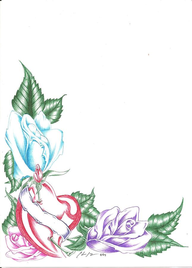 Triple Rose And Heart Drawing By Chris Jorge