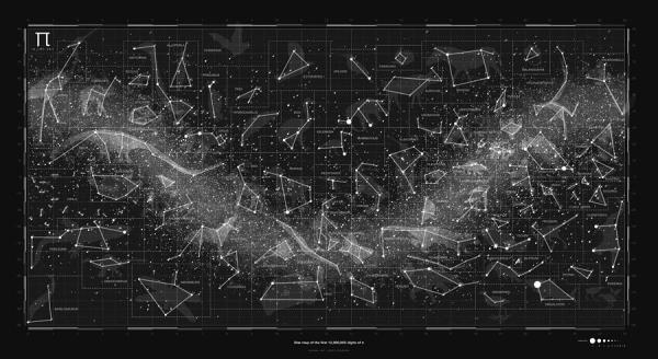 2017 Pi Day Star Chart Carree Projection Digital Art by ...