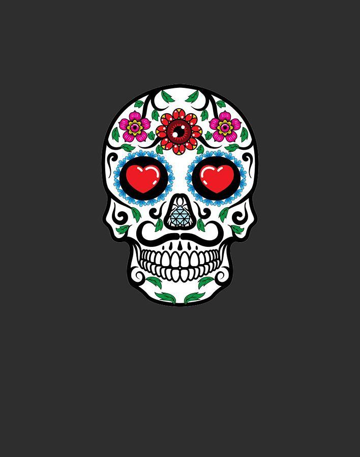Sugar Skull Floral Skull Drawing By Amazigh