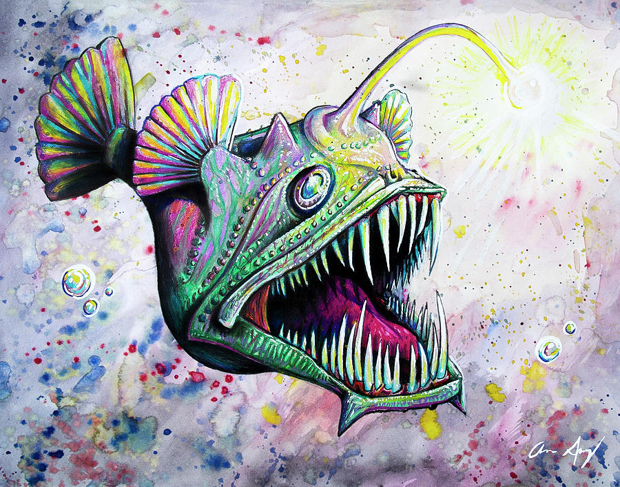 Angler Fish Drawing By Aaron Spong