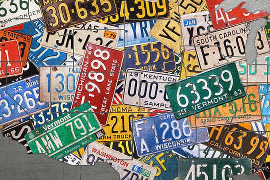 HD Decor Images » Assorted Vintage Colorful License Plates Of The Usa Map On Steel     Assorted Mixed Media   Assorted Vintage Colorful License Plates Of The Usa  Map On Steel by
