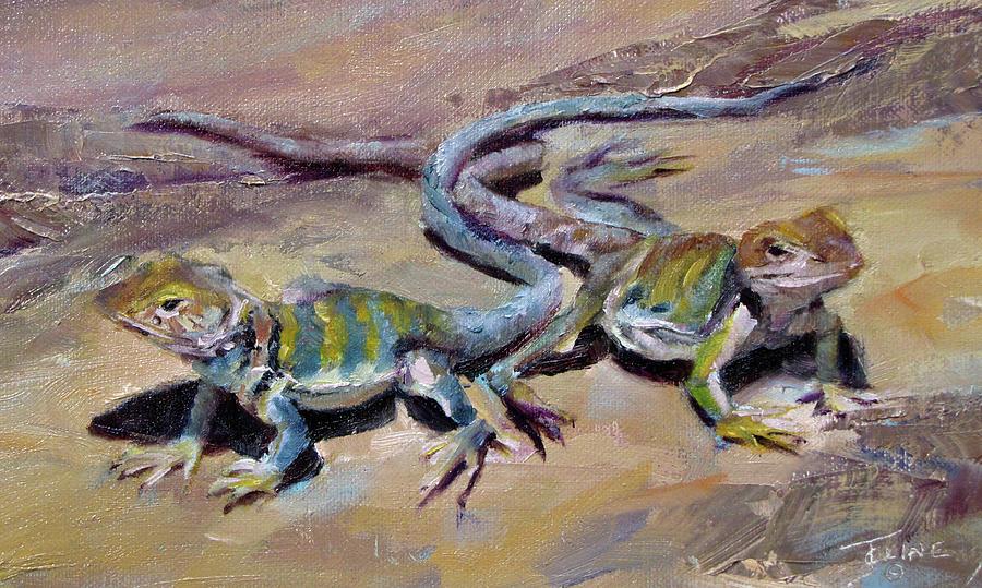 Bearded Lizards Painting By Jenifer Cline