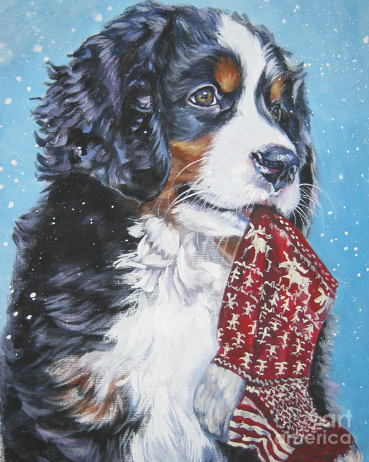 Bernese Mountain Dog Xmas Stocking Painting By Lee Ann Shepard