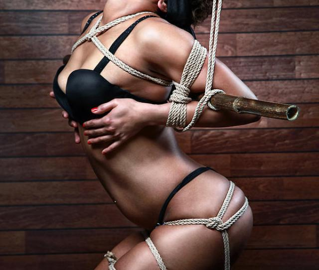 Blindfold Tied In Lingerie To A Bamboo Tube Fine Art Of Bondage