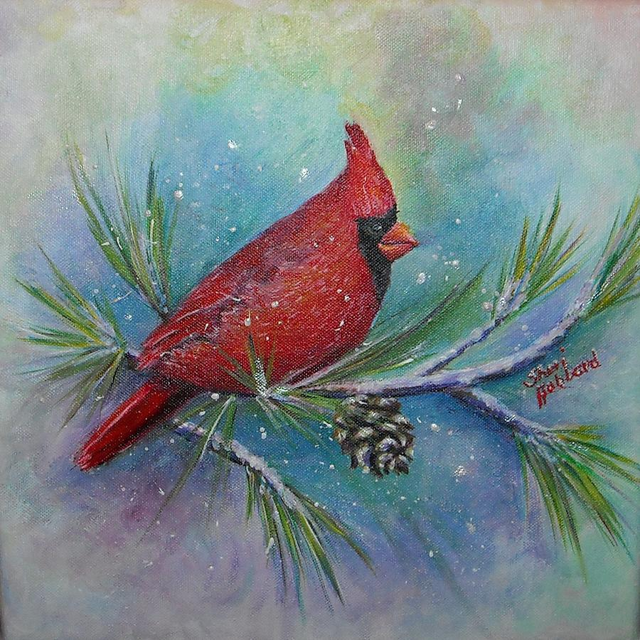 Cardinal And Delta Snow Painting By Sheri Hubbard
