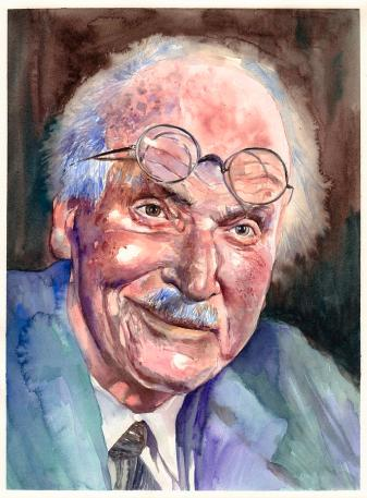 Carl Gustav Jung portrait Painting by Suzann Sines