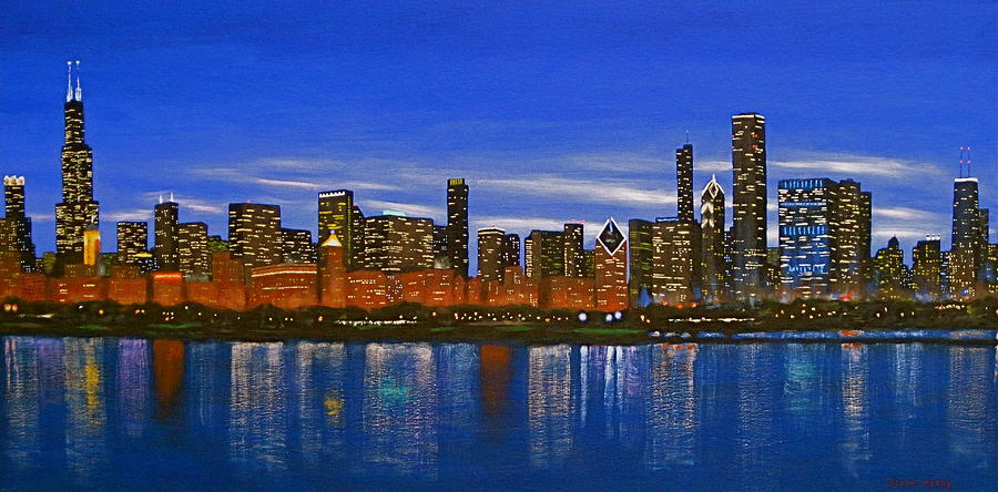 Chicago Skyline Nocturnal Glow Painting By J Loren Reedy
