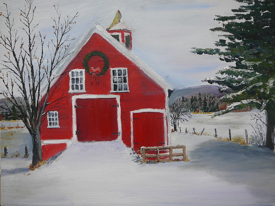 Christmas Barn Painting By Russ Harriger