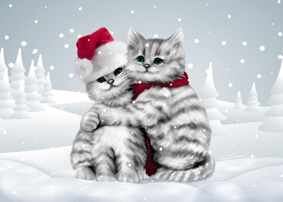 Christmas Hug Drawing By Cindy Anderson