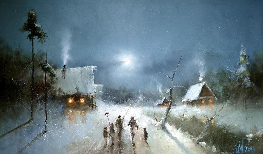 Christmas Night Painting By Igor Medvedev