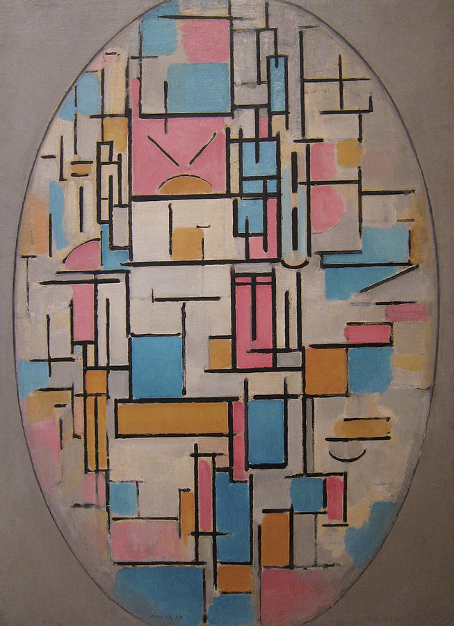 Neoplasticism Paintings   Fine Art America Neoplasticism Painting   Composition In Oval With Color Planes 1 by Piet  Mondrian