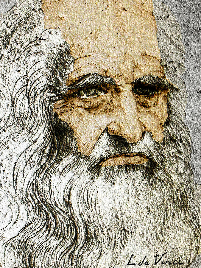 Da Vinci Self Portrait Remastered With Added Color By Da Vinci Painting By Tony Rubino